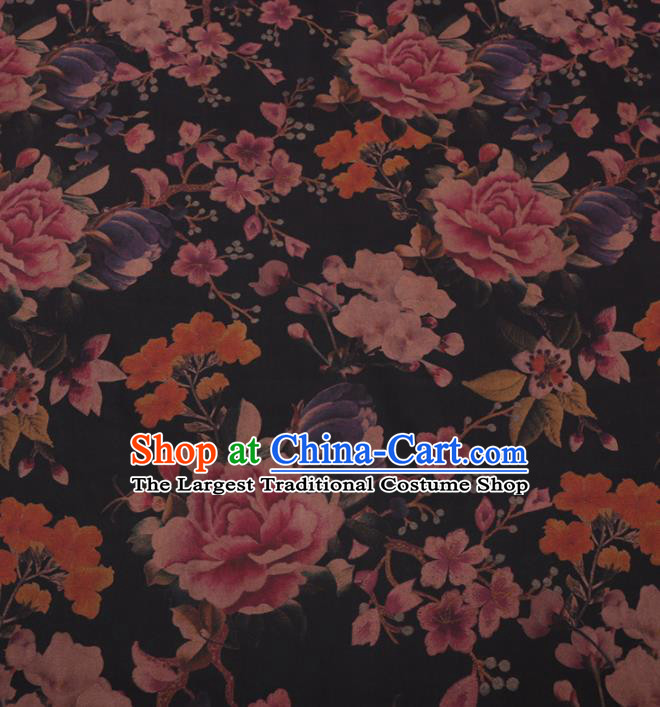 Traditional Chinese Classical Peony Pattern Design Black Gambiered Guangdong Gauze Asian Brocade Silk Fabric