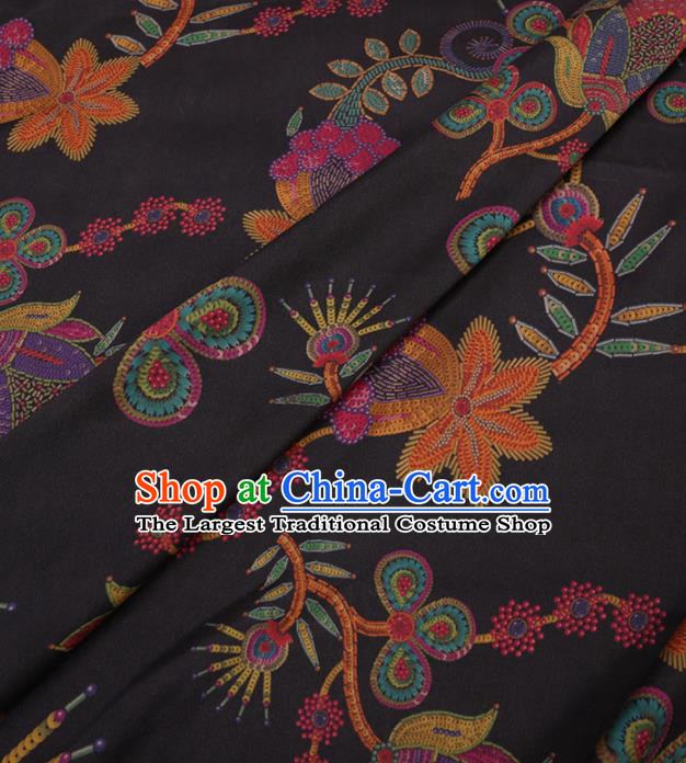 Traditional Chinese Classical Pattern Design Black Gambiered Guangdong Gauze Asian Brocade Silk Fabric