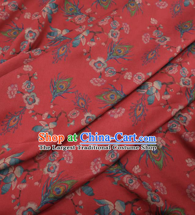 Traditional Chinese Classical Feather Pattern Design Red Gambiered Guangdong Gauze Asian Brocade Silk Fabric