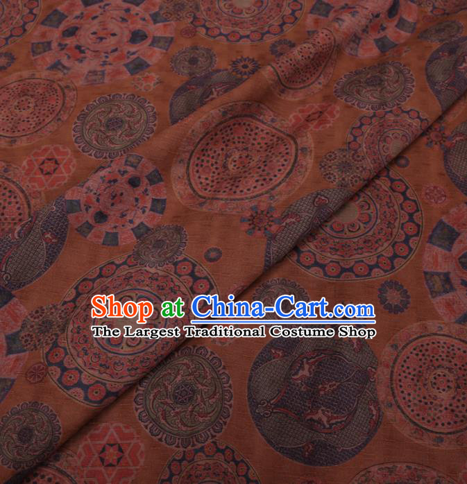 Traditional Chinese Classical Pattern Design Yellow Gambiered Guangdong Gauze Asian Brocade Silk Fabric