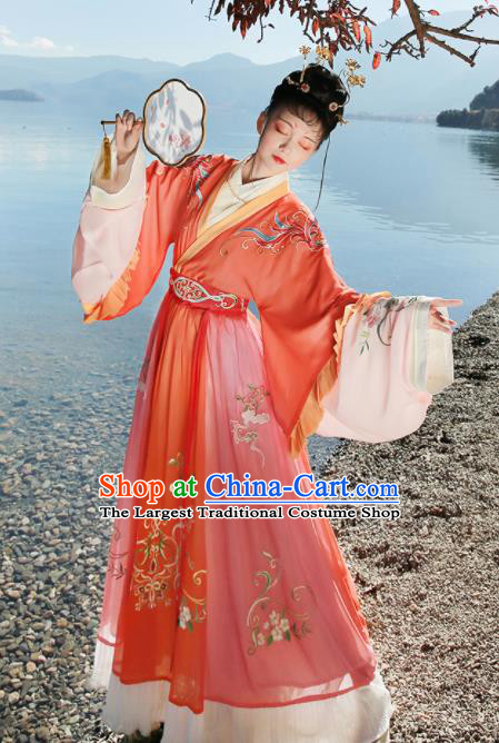 Ancient Chinese Palace Lady Hanfu Dress Traditional Jin Dynasty Court Embroidered Replica Costume for Women