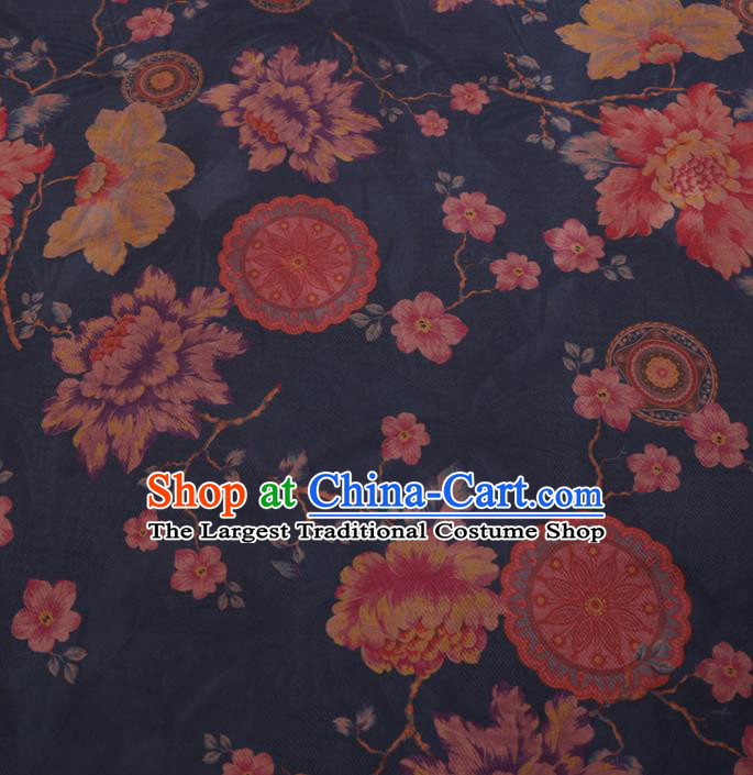 Traditional Chinese Classical Peony Pattern Design Navy Gambiered Guangdong Gauze Asian Brocade Silk Fabric