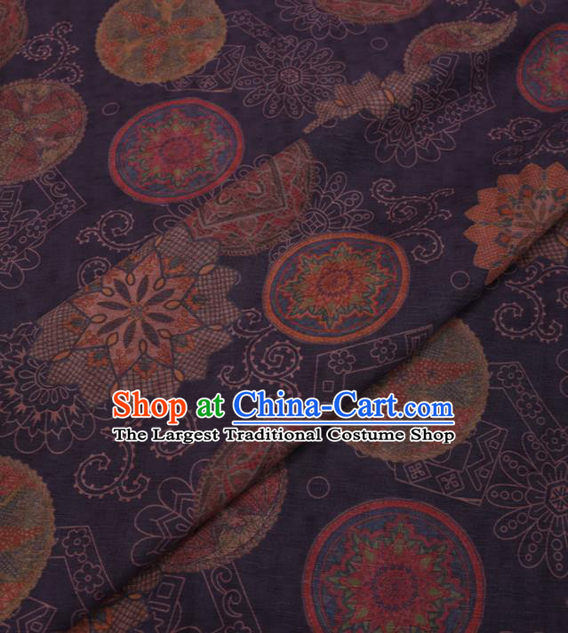 Traditional Chinese Classical Pattern Design Purple Gambiered Guangdong Gauze Asian Brocade Silk Fabric