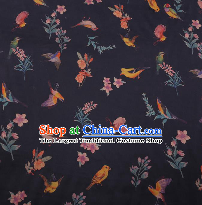 Traditional Chinese Classical Birds Pattern Design Black Gambiered Guangdong Gauze Asian Brocade Silk Fabric