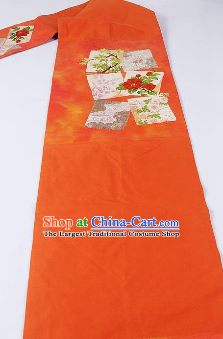 Japanese Ceremony Kimono Classical Camellia Pattern Orange Belt Asian Japan Traditional Yukata Waistband for Women