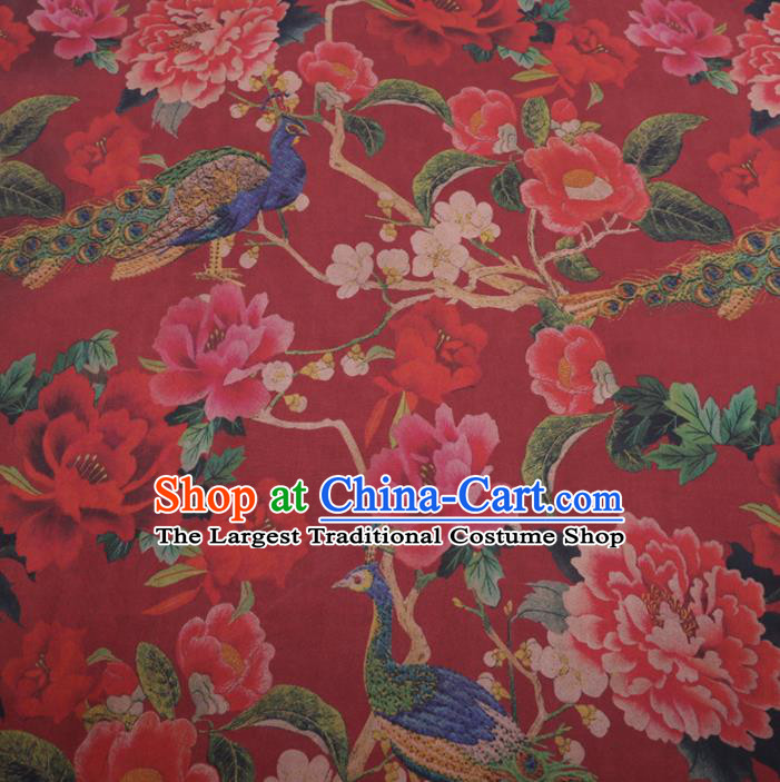 Traditional Chinese Classical Peacock Peony Pattern Design Red Gambiered Guangdong Gauze Asian Brocade Silk Fabric