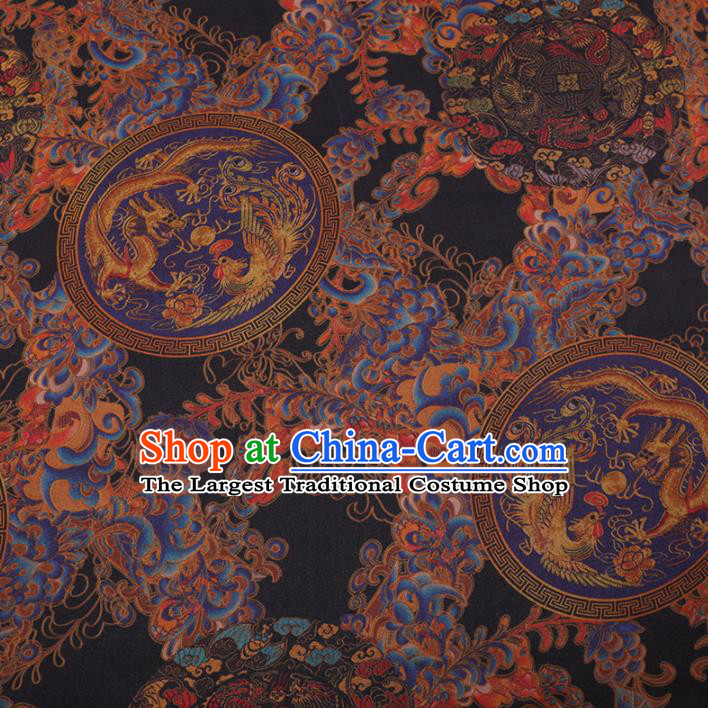 Traditional Chinese Classical Dragon Phoenix Pattern Design Black Gambiered Guangdong Gauze Asian Brocade Silk Fabric