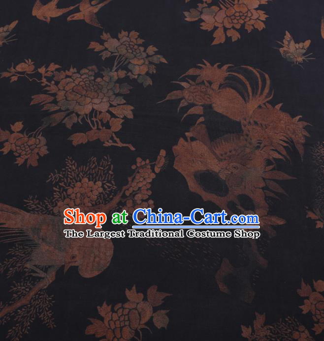 Traditional Chinese Classical Peacock Pattern Design Black Gambiered Guangdong Gauze Asian Brocade Silk Fabric
