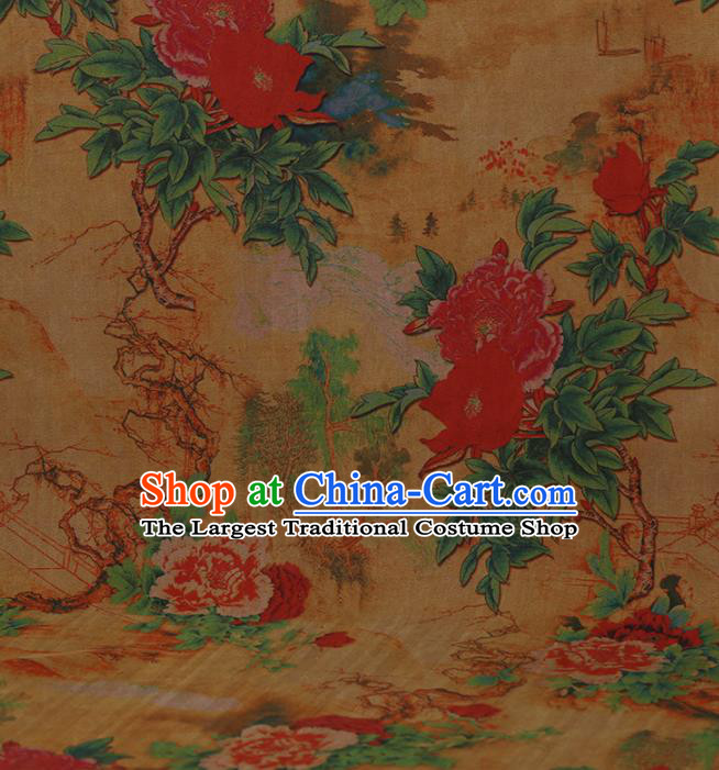 Traditional Chinese Classical Peony Pattern Design Yellow Gambiered Guangdong Gauze Asian Brocade Silk Fabric