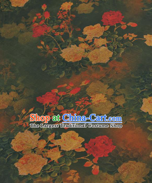 Chinese Traditional Classical Roses Pattern Design Green Gambiered Guangdong Gauze Asian Brocade Silk Fabric