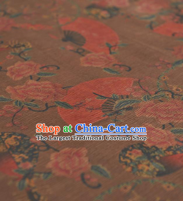 Chinese Traditional Classical Peony Fan Pattern Design Khaki Gambiered Guangdong Gauze Asian Brocade Silk Fabric