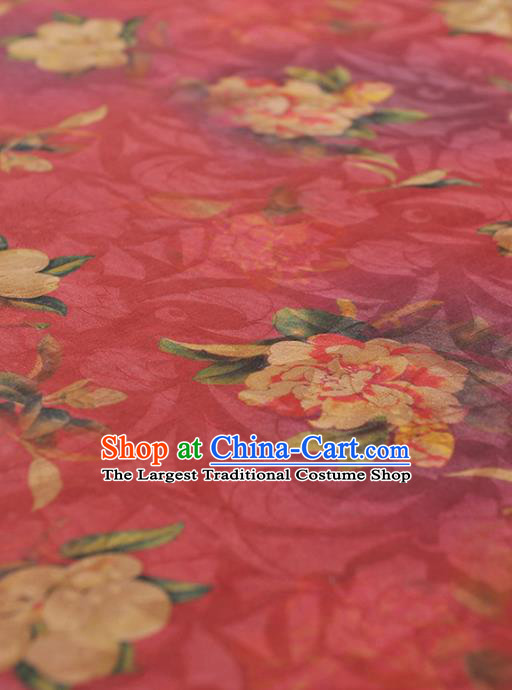 Chinese Traditional Classical Peony Pattern Design Rosy Gambiered Guangdong Gauze Asian Brocade Silk Fabric