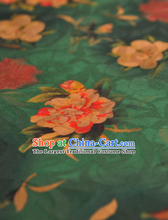 Chinese Traditional Classical Peony Pattern Design Green Gambiered Guangdong Gauze Asian Brocade Silk Fabric