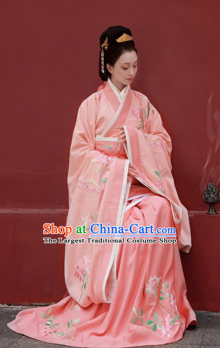 Chinese Ancient Han Dynasty Imperial Consort Pink Hanfu Dress Traditional Court Lady Embroidered Replica Costume for Women
