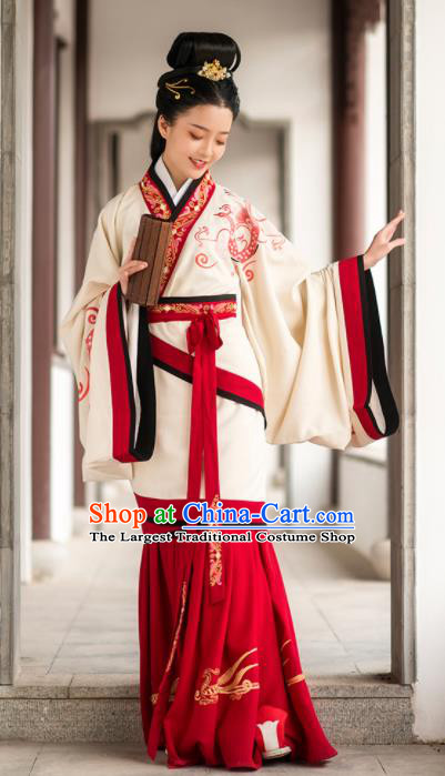 Chinese Ancient Han Dynasty Palace Lady Hanfu Dress Traditional Court Maid Embroidered Replica Costume for Women