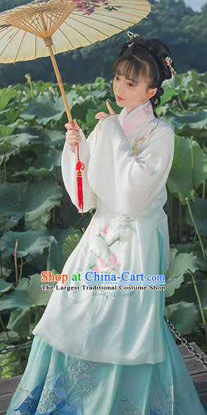 Chinese Ancient Ming Dynasty Nobility Lady Hanfu Dress Traditional Embroidered Replica Costume for Women