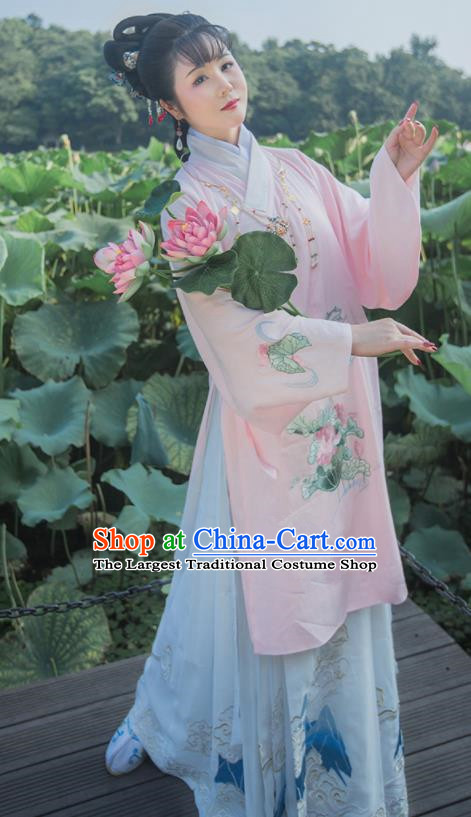 Chinese Ancient Ming Dynasty Princess Hanfu Dress Traditional Embroidered Replica Costume for Women