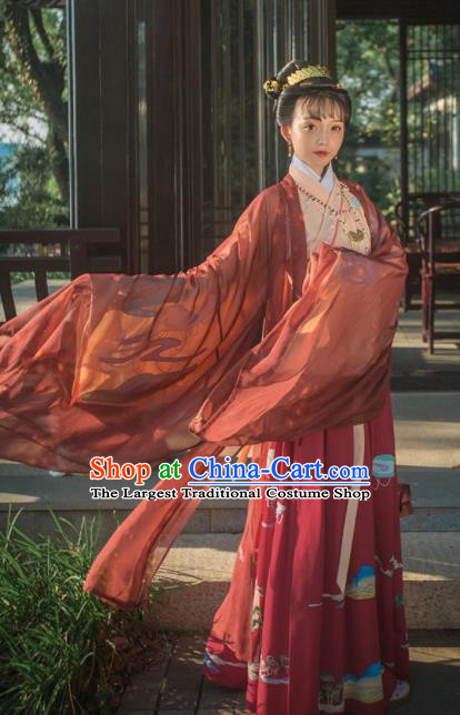 Chinese Ancient Jin Dynasty Court Princess Hanfu Dress Traditional Palace Embroidered Replica Costume for Women