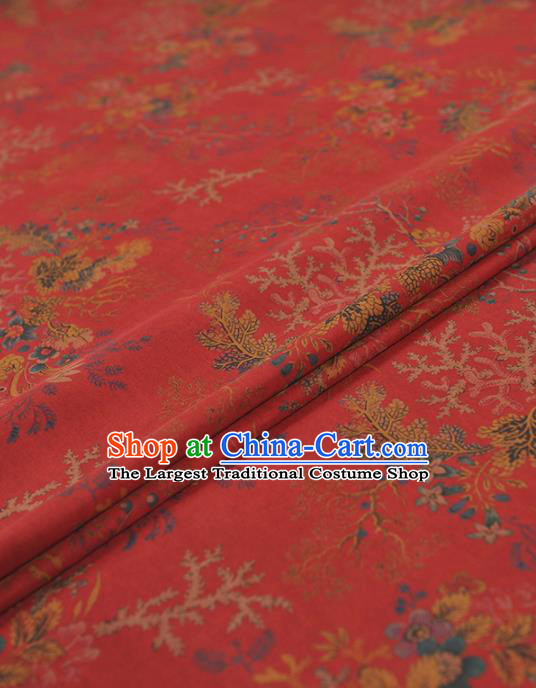 Chinese Traditional Pattern Design Red Gambiered Guangdong Gauze Asian Brocade Silk Fabric