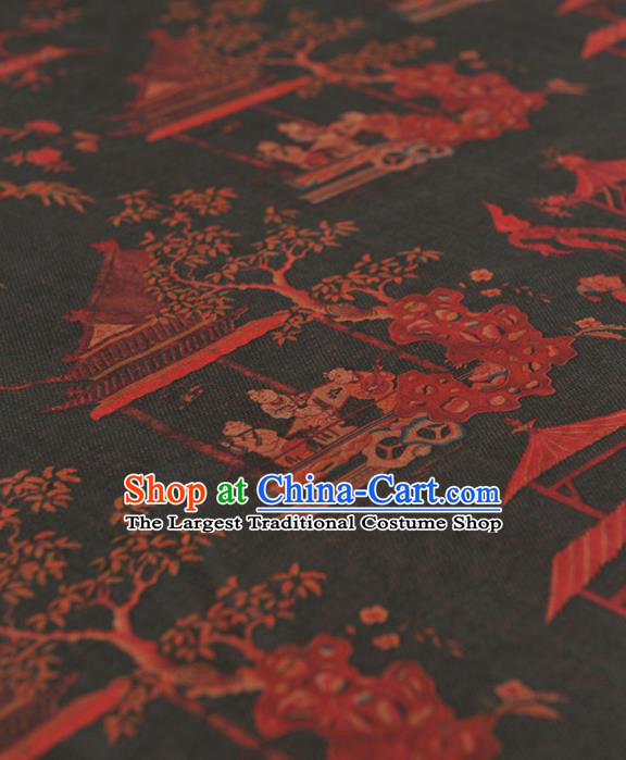 Chinese Traditional Pattern Design Navy Gambiered Guangdong Gauze Asian Brocade Silk Fabric