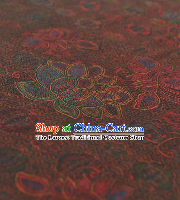 Chinese Traditional Lotus Pattern Design Brown Gambiered Guangdong Gauze Asian Brocade Silk Fabric