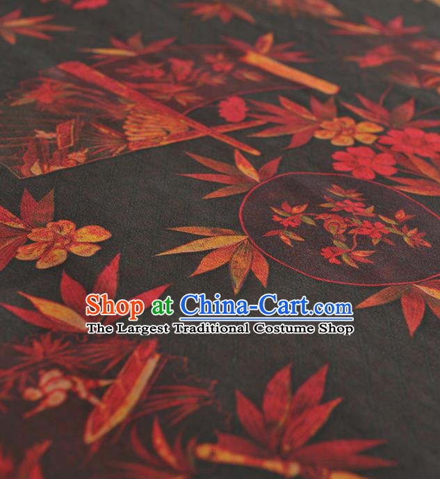 Chinese Traditional Bamboo Pattern Design Black Gambiered Guangdong Gauze Asian Brocade Silk Fabric