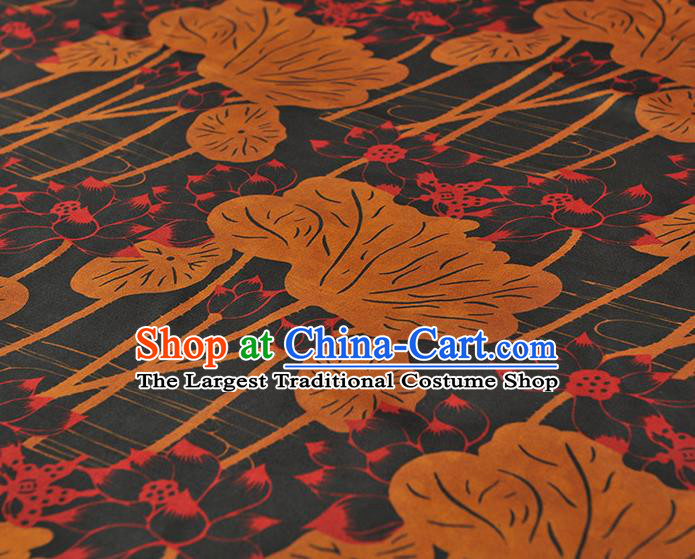 Chinese Traditional Lotus Leaf Pattern Design Navy Gambiered Guangdong Gauze Asian Brocade Silk Fabric