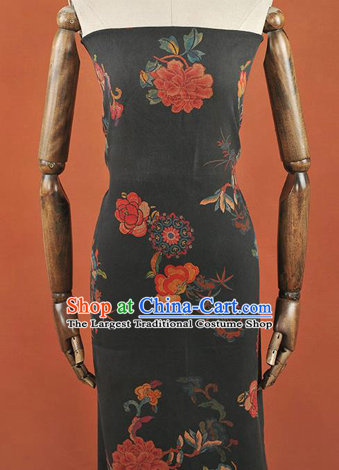 Chinese Traditional Peony Flowers Pattern Design Black Gambiered Guangdong Gauze Asian Brocade Silk Fabric