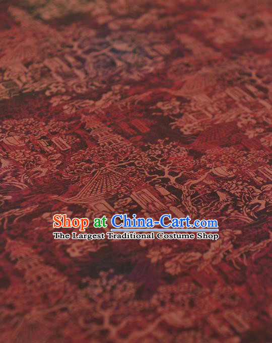 Chinese Traditional Tower Pattern Design Wine Red Gambiered Guangdong Gauze Asian Brocade Silk Fabric