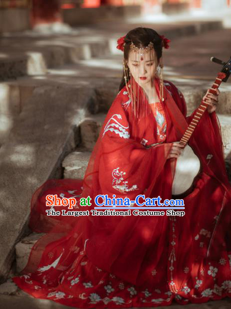 Chinese Ancient Tang Dynasty Wedding Red Hanfu Dress Traditional Bride Embroidered Replica Costume for Women