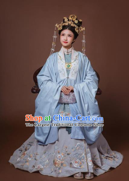 Chinese Ancient Ming Dynasty Imperial Empress Hanfu Dress Traditional Court Queen Embroidered Replica Costume for Women