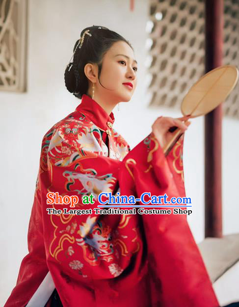 Chinese Ancient Ming Dynasty Court Wedding Red Hanfu Dress Traditional Empress Embroidered Replica Costume for Women