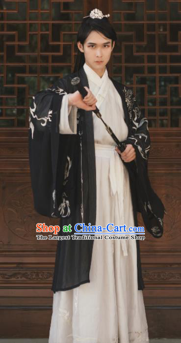 Chinese Ancient Jin Dynasty Swordsman Hanfu Clothing Traditional Palace Prince Embroidered Replica Costume for Men