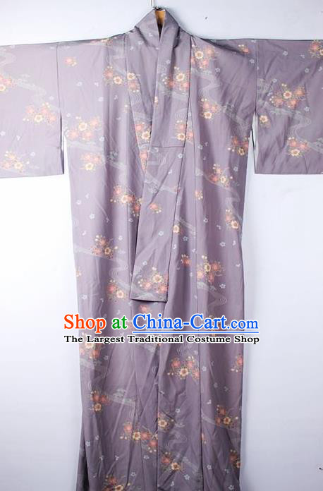 Asian Japanese Ceremony Clothing Classical Flowers Pattern Purple Kimono Traditional Japan National Yukata Costume for Men