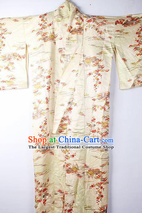 Asian Japanese Ceremony Clothing Classical Primrose Pattern Yellow Kimono Traditional Japan National Yukata Costume for Men
