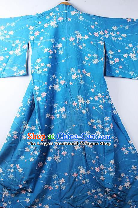 Asian Japanese Classical Leaf Pattern Blue Furisode Kimono Ceremony Costume Traditional Japan Yukata Dress for Women