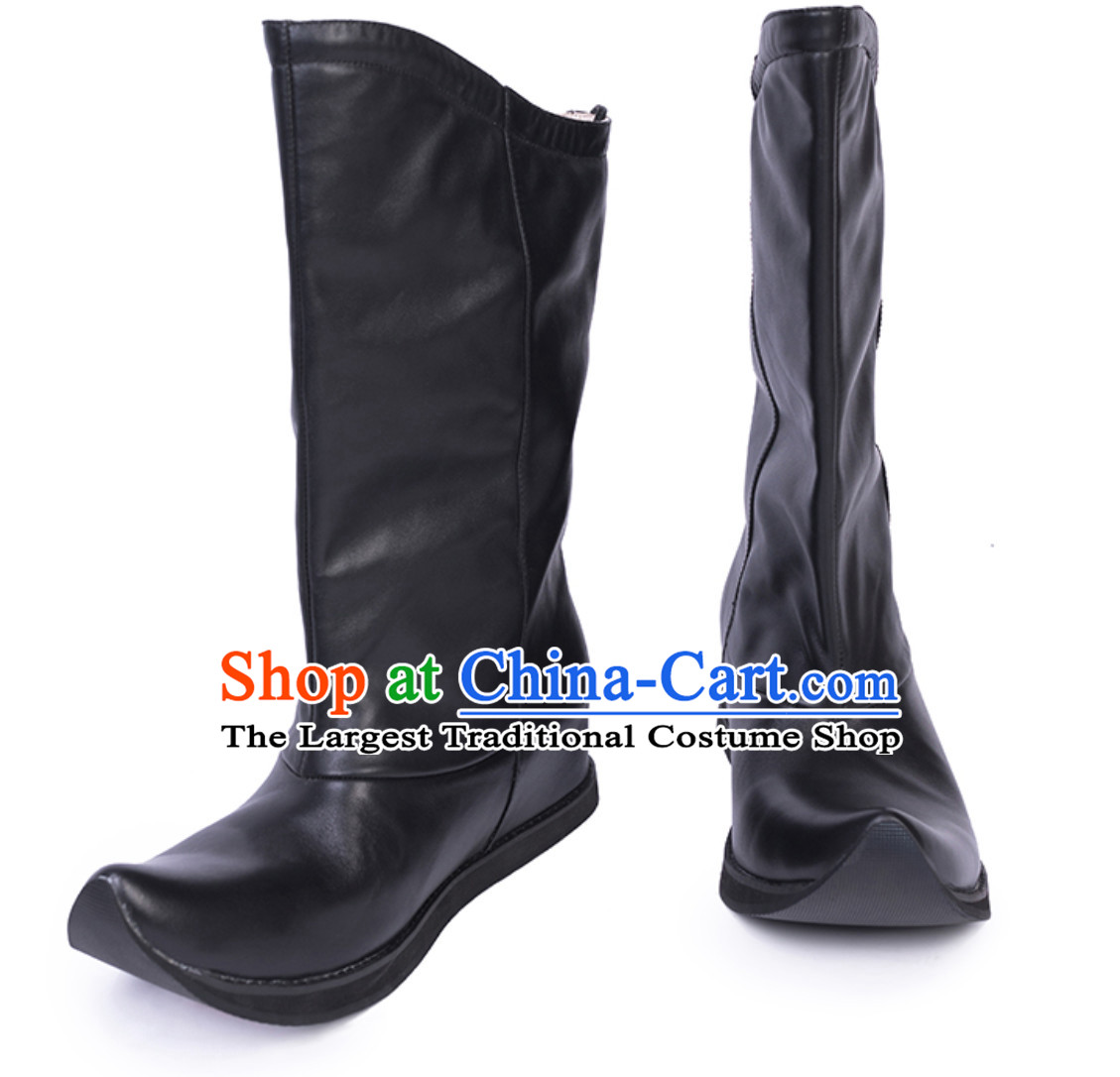 Ancient Chinese Style Long Black Leather Boots