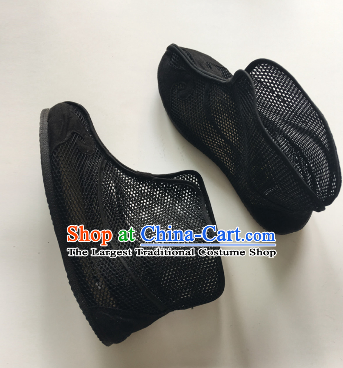 Ancient Chinese Style Mesh Black Boots for Men