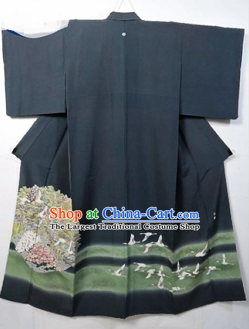 Asian Japanese Samurai Classical Hydrangea Crane Pattern Grey Yukata Robe Traditional Japan Kimono Costume for Men