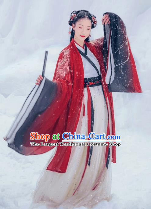 Chinese Traditional Jin Dynasty Court Princess Wedding Red Hanfu Dress Ancient Legend Goddess Replica Costume for Women