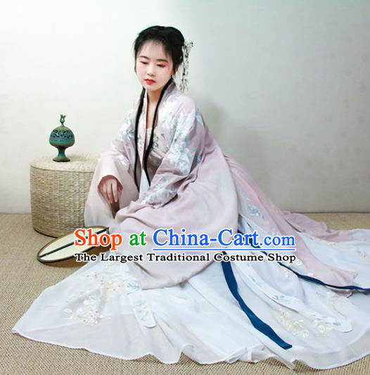 Chinese Traditional Song Dynasty Court Pink Hanfu Dress Ancient Imperial Concubine Replica Costumes for Women