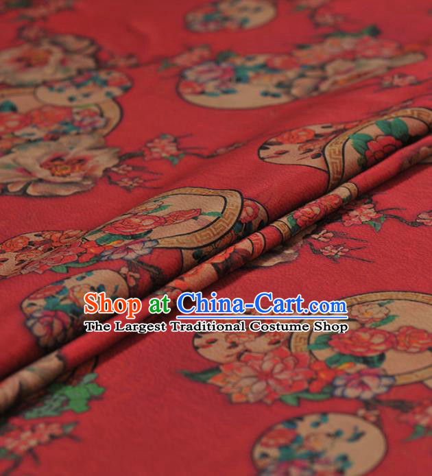 Chinese Traditional Classical Peach Blossom Pattern Design Red Gambiered Guangdong Gauze Asian Brocade Silk Fabric