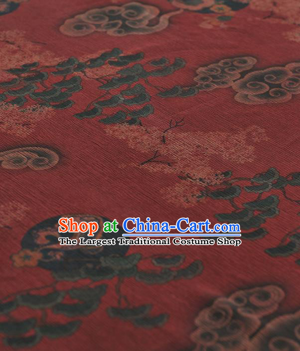 Chinese Traditional Classical Clouds Pattern Design Red Gambiered Guangdong Gauze Asian Brocade Silk Fabric