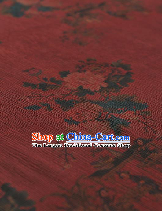Chinese Traditional Classical Peony Pattern Design Wine Red Gambiered Guangdong Gauze Asian Brocade Silk Fabric