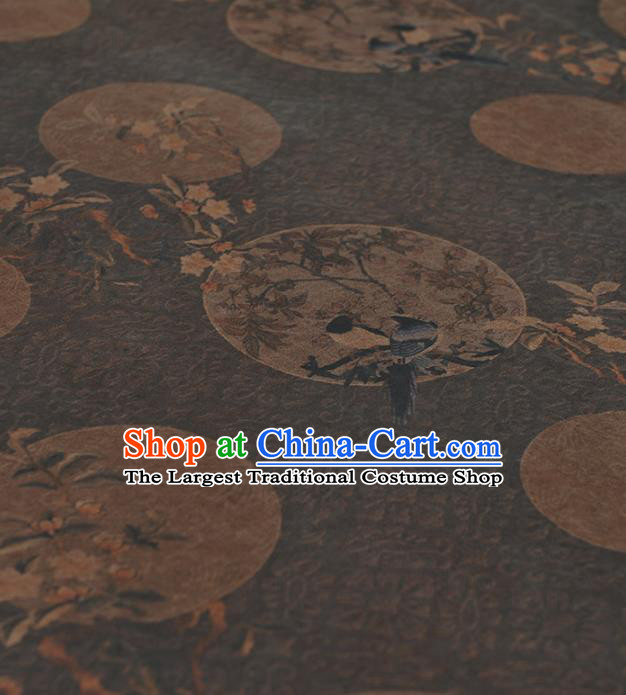 Chinese Traditional Classical Magpie Wintersweet Pattern Design Brown Gambiered Guangdong Gauze Asian Brocade Silk Fabric