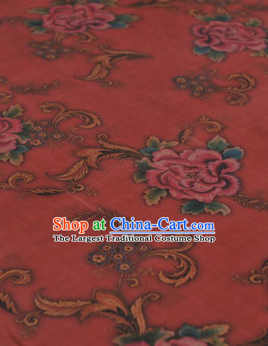 Chinese Traditional Peony Pattern Design Red Gambiered Guangdong Gauze Asian Brocade Silk Fabric