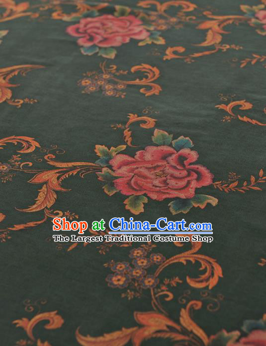 Chinese Traditional Peony Pattern Design Atrovirens Gambiered Guangdong Gauze Asian Brocade Silk Fabric