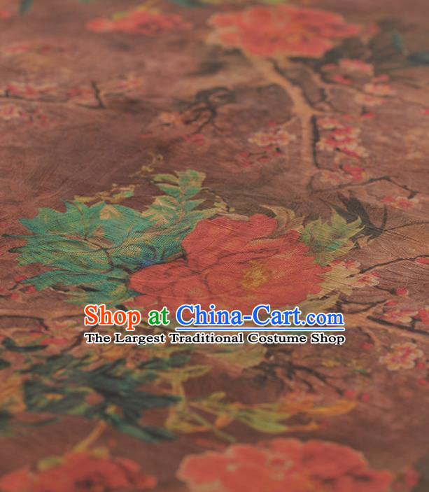 Chinese Traditional Peony Wintersweet Pattern Design Brown Gambiered Guangdong Gauze Asian Brocade Silk Fabric