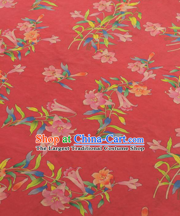 Chinese Traditional Petunia Pattern Design Red Gambiered Guangdong Gauze Asian Brocade Silk Fabric
