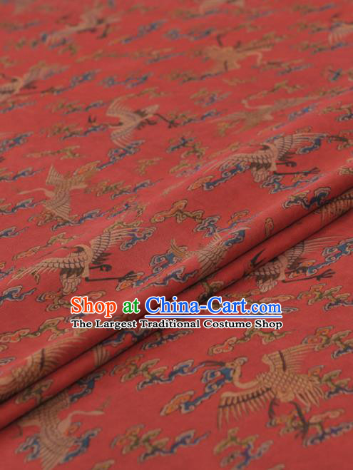 Chinese Classical Cloud Cranes Pattern Design Red Gambiered Guangdong Gauze Traditional Asian Brocade Silk Fabric